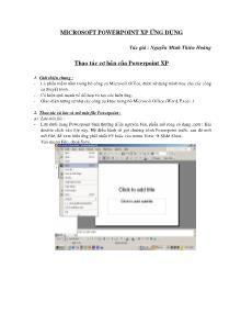 Giáo trình Tin học - Microsoft Powerpoint Xp ứng dụng - Nguyễn Minh Thiên Hoàng