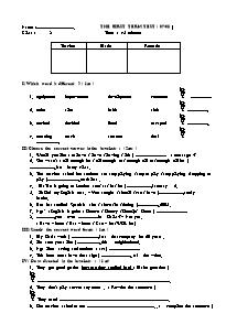 Đề đáp án thi học kì Tiếng anh Lớp 8