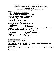 Đề kiểm tra môn Lịch sử Lớp 8 và Lớp 9 - Học kì I - Năm học 2008-2009