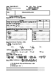 Bài kiểm tra 1 tiết môn Đại số Lớp 8 - Năm học 2008-2009 - Trường THCS Ngô Mây
