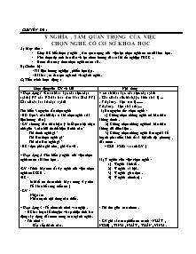 Giáo án Hướng Nghiệp Lớp 9 - Chuyên đề 1 đến 8