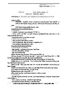 Giáo án GDCD Lớp 9 - Tiết 11 - Chủ điểm tháng 11: Tôn sư trọng đại