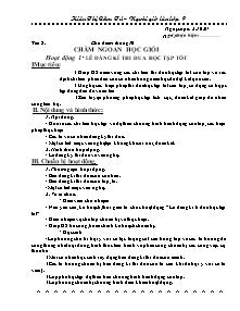 Giáo án hoạt động giáo dục ngoài giờ lên lớp - Chủ điểm tháng 10: Chăm ngoan học giỏi - Năm học 2007-2008 - Kiều Thị Cẩm Tú