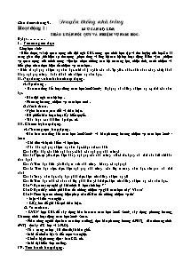 Giáo án hoạt động ngoài giờ lên lớp - Chủ điểm tháng 9 - Truyền thống nhà trường (Bản đầy đủ)