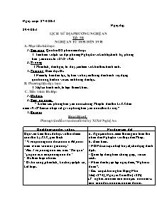 Giáo án Lịch sử - Lịch sử địa phương Nghệ An - Năm học 2013-2014