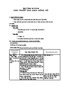 Giáo án Mĩ thuật Lớp 2 - Bài 17 - Xem tranh dân gian đồng hồ