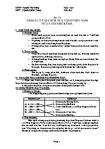 Giáo án môn Lịch Sử Lớp 8 - Nguyễn Thị Hưởng