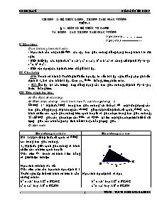Giáo án môn Toán Lớp 9 - Chương I: Hệ thức lượng trong tam giác vuông - Bùi Thị Lan