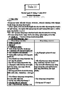 Giáo án Tập đọc Lớp 3 - Tuần 10 - Năm học 2010-2011