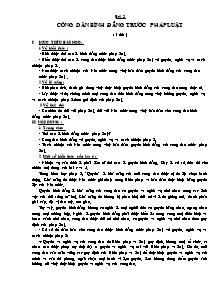 Giáo án Giáo dục công dân Lớp 12 - Bài 3: Công dân bình đẳng trước pháp luật (Bản đẹp 2 cột)