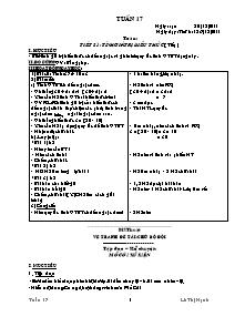 Giáo án Lớp 3 - Tuần 17 - Năm học 2011-2012 - Lê Thị Hạnh
