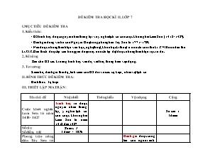 Đề kiểm tra môn Lịch sử Lớp 7 - Học Kì 2