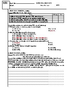 Đề kiểm tra môn Tin học Lớp 8 - Học kì 1