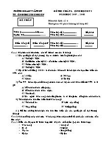 Đề thi chất lượng môn Lịch sử Lớp 6 - Học Kì I - Trường THCS Trung Sơn