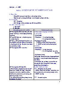 Giáo án Ngữ Văn Lớp 7 - Bản đẹp 2 cột - Năm học 2011-2012