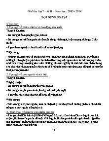 Giáo án Ngữ Văn Lớp 7 - Học kì II - năm học 2013-2014