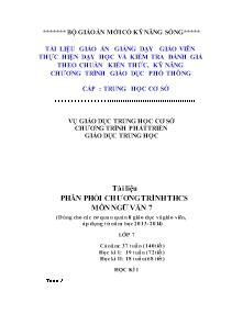 Giáo án Ngữ Văn Lớp 7 - Phân phối chương trình - Năm học 2012-2013 (Chuẩn kiến thức)