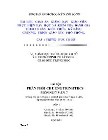 Giáo án Ngữ Văn Lớp 7 - Phân phối chương trình - Năm học 2013-2014