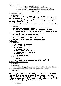 Giáo án Ngữ Văn Lớp 7 - Tiết 37: Đọc hiểu văn bản