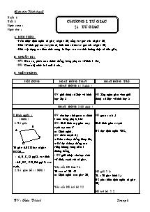 Giáo án Toán học 8 - Chương trình học kì 1